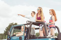 Friends on common expedition royalty free stock image