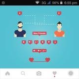 Friends communicate in social networks. Friends communicate in social networks via messenger app stock illustration