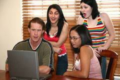 Friends at Computer Stock Photos