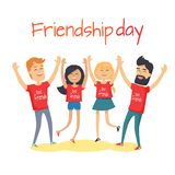 Friends congratulating each other holding hands up. And jumping isolated on white. Friendship Day celebration vector illustration. Cartoon young people in Stock Images