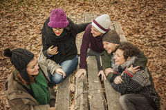 Friends conversating and laughing in a park full of leaves. Autu Stock Photos