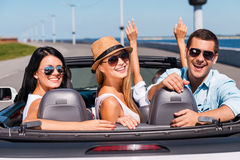 Friends in convertible. Stock Image