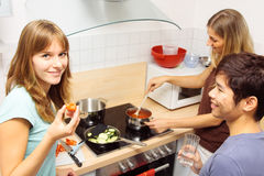 Friends Cooking Together. Group of friends cooking together at home Royalty Free Stock Photos