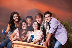 Friends at a Cookout. Group of six happy friends with drinks at a cookout Stock Image
