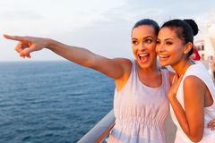 Friends on cruise royalty free stock image