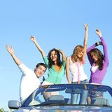 Friends in dance car Stock Images