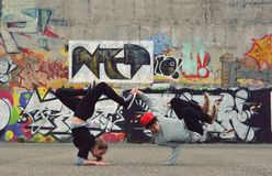 Friends dancing breakdance on the street Royalty Free Stock Photography
