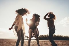 Friends dancing and having fun on the road Stock Photography