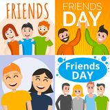 Friends day banner set, cartoon style vector illustration
