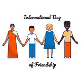 Friends of different genders and nationalities as a symbol of International Friendship day. Friends of different nationalities as a symbol of International Stock Photo