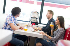Friends in the diner Royalty Free Stock Photo