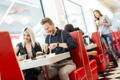 Friends in the diner Stock Photos