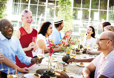 Friends Dining Outdoors Party Cheerful Concept Stock Photo