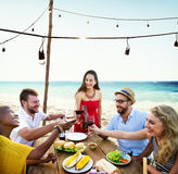 Friends Dining Summer Beach Party Cheerful Concept Stock Photography