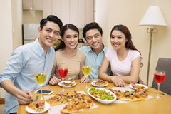 Friends at the dinner party Royalty Free Stock Photo