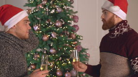 Friends discussing at new year eve. Portrait two men talking near christmas tree at new years party. Handsome caucasian friends chatting holding glasses with stock video footage