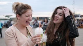 Friends do toast, two female smiles and looking at camera having drinks, girlfriends with chilled cocktails in hand stock footage