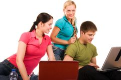 Friends are doing homework Stock Image
