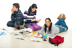 Friends doing homework together Stock Photos