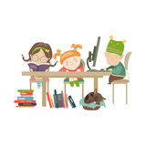 Friends doing homework. Vector Illustration of boy and girls doing their homework Royalty Free Stock Photography