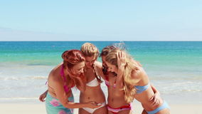 Friends doing selfie at the beach stock footage