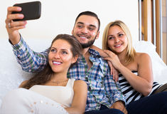 Friends doing selfie at home Royalty Free Stock Photography
