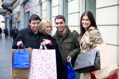 Friends doing shopping Stock Images
