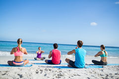 Friends doing yoga together with their teacher. At the beach Royalty Free Stock Image