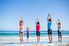 Friends doing yoga together with their teacher. At the beach Stock Photography