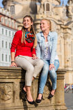 Friends at Dresden Frauenkirche Royalty Free Stock Image