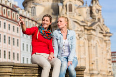 Friends at Dresden Frauenkirche Stock Images