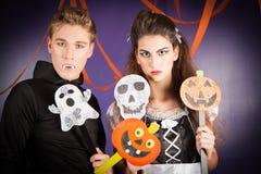 Friends dresses for hallowen. Young men dresses for halloween Stock Photos