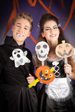Friends dresses for hallowen. Young women and men  dresses for hallowen Stock Photography
