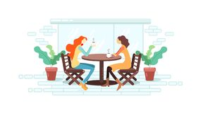 Friends drink coffee in a cafe vector illustration