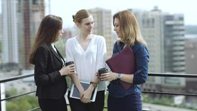 Free Friends Drink Coffee Standing On The Roof. Business Woman During Lunch Break. Slow Motion Stock Photos - 92673953