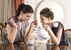 Friends drink tea. Two girl-friends talk and drink tea in drawing room stock photo