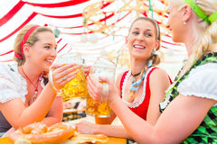 Friends drinking Bavarian beer at Oktoberfest. Friends drinking together Bavarian beer in national costume or Dirndl on Oktoberfest stock photos