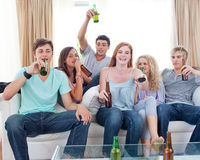 Free Friends Drinking Beer At Home And Watching Tv Stock Images - 11933054