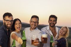 Friends drinking beer. Group of friends at a summertime outdoor party having fun, dancing, drinking beer and making a toast royalty free stock image