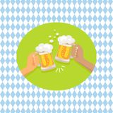 Friends Drinking Beer Shown on Vector Illustration Stock Images