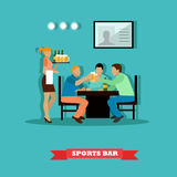 Friends drinking beer and watch a game in sport bar. Vector illustration poster flat style. Royalty Free Stock Images
