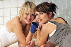 Friends drinking coffee. Two girlfriends drinking coffee a having a conversation Stock Photography