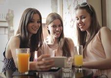 Friends drinking orange juice royalty free stock photos