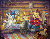 Friends drinking tea. Raster illustration. Guests attending a house rabbit: bear, hedgehog and squirrel, drink tea with honey and eat cakes, sweets. They sit in Stock Photos