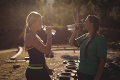 Friends drinking water after workout during obstacle course royalty free stock images