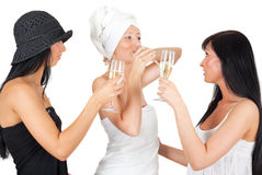 Friends drinking wine Stock Photos