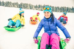 Friends driving sleds Stock Image