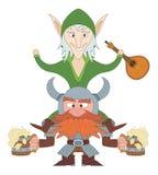 Friends drunken, elf and dwarf Stock Images