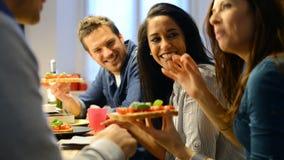 Friends eating bruschetta stock video