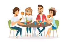 Friends eating fast food. Meal in restaurant. Group of happy people sitting, talking and having dinner burgers, fries and drinking soda. Young fun and smiling Stock Photos
